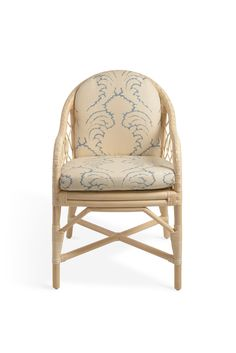Soane Britain's Rattan Lily Dining Chair with cushion upholstered in Pineapple Frond - Azure - Stone Linen Rattan, Wicker, Chair Parts, Metal Finishes, Furniture Making, Pineapple, Hand Weaving, Upholstery, Dining Chairs