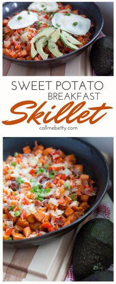 Sweet Potato Breakfast skillet with avocado from Call Me Betty callmebetty.com