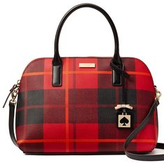 Kate Spade New York Brightwater Drive Woodland Plaid Small Rachelle Satchel - Red Carpet * You can find out more details at the link of the image. (This is an affiliate link) Cowhide Leather, Pebbled Leather, Kate Spade Gifts, Plaid Purse, Kate Spade Bag Crossbody, Satchel Handbags, Leather Satchel, Purses, Woodland