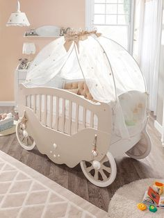 I want this cute baby carriage crib for my baby.