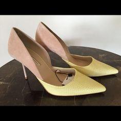 "ZARA Beige Suede & Yellow Snake D'Orsay Pumps 9/40 ZARA Beige Suede & Pale Yellow Snake Embossed D'Orsay Pumps. Size 9 U.S. & 40 Euro. Very flattering on the foot! Heel height approx 3.5"" BNWT. Zara Shoes Heels"