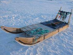 Dog sled as base for sled shelter Ice Fishing Tips, Fishing 101, Ice Sled, Dog Sleigh, Snowmobile Trailers, Shanty Boat, Fairbanks Alaska, Fish House, Pretty Room