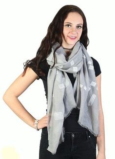 Breathable Cotton Blend Square Print Scarf Lightly Frayed Edges