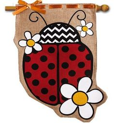 Decorative summer house flag with large colorful ladybug, sculpted edge, burlap fabric creates a special summer yard flag. Free shipping on $49 orders