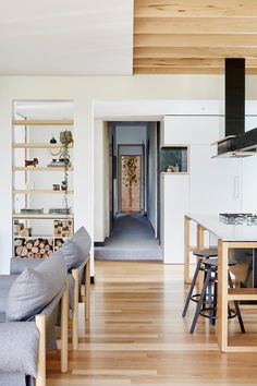 Moloney Architects recently completed a modern extension on a century-old Victorian weatherboard house in Ballarat, Australia. Home Upgrades, Weatherboard House, Farmhouse Side Table, Box Houses, Buying A New Home, Australian Homes, Interiores Design, Wooden Boxes, Decoration