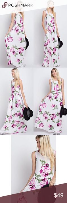 """Sleeveless Floral Maxi Dress (Ivory) Made in the USA 95% rayon, 5% spandex Hand was cold, do not bleach, no iron Features elastic shirring & side pockets Approximately 58"""" long from shoulder to hem  Color may vary due to device color calibration and photography lighting (time of day, indoors/outdoors, angle)  Model Size  Height: 5'8  US Size: 2  Bust: 32  Waist: 24 * Model wears size small Dresses"""