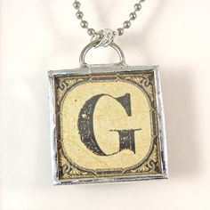 Letter G Initial Pendant Necklace by XOHandworks $20.  LOVE IT!!!!!!!