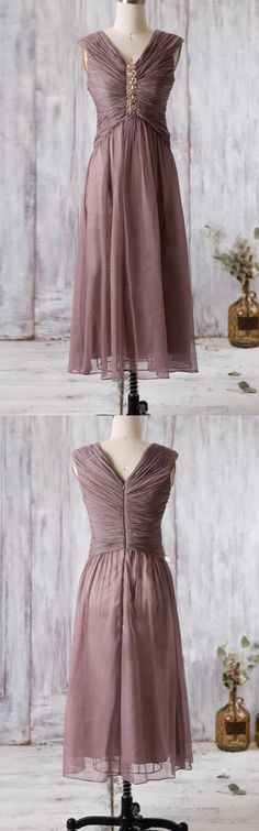 Gorgeous V Neck Long Mother of the Bride Dress