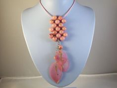 Long Pink Grape Beads and Leaf Pendant Necklace