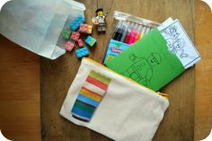 DIY lego zip pouch/kit - includes free templates, her graphics, etc.
