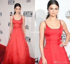 New Arrival 2016 Sexy Selena Gomez Celebrity Dresses Red A-Line Satin Scoop Neck Open Back Occasion Dresses Long Party Evening Gowns Cheap Celebrity Dresses Selena Gomez Evening Gowns Online with 110.0/Piece on Sweet-life's Store | DHgate.com