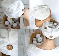 Linen hair towel - Pure linen hair turban - White woman turban - Natural linen sauna / spa / shower / bath turban - Treat yourself !