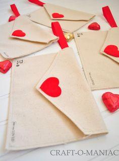 Craft-O-Maniac: DIY Valentine Fabric Envelopes- and use them for a Valentine Advent
