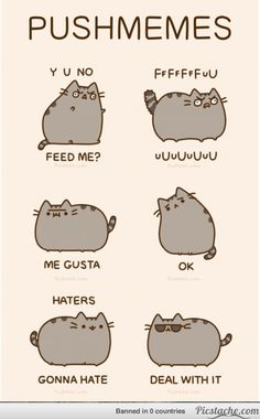 Cat Art... =^. ^=... ❤... Pusheen the Cat... By Artist Unknown...