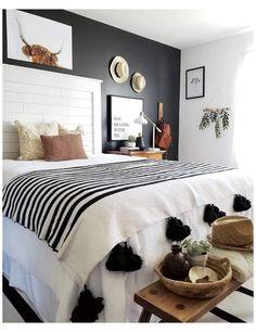Tan Bedroom, White Bedroom Design, White Bedroom Decor, Small Master Bedroom, Farmhouse Bedroom Decor, Cozy Bedroom, Home Decor Bedroom, Bedroom Ideas, Bedroom Storage