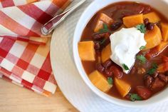 This sweet potato and black bean chili is a hearty vegetarian option ...