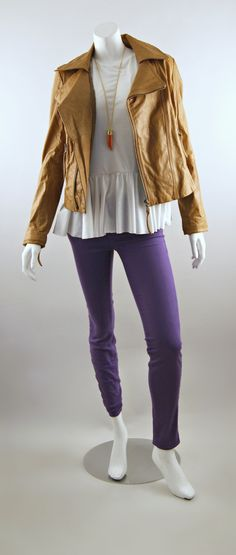 Rebecca Taylor Peplum Tee, J Brand Super Skinny Jeans and June Cropped Leather Jacket