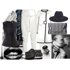 Black and white spring by ildikos on Polyvore featuring Barbour, Paule Ka, Alexander McQueen, Yves Saint Laurent, rag & bone and Christian Louboutin