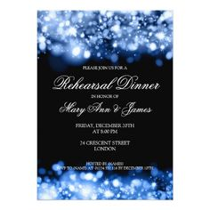 Wedding Rehearsal Dinner Sparkling Lights Sapphire Card