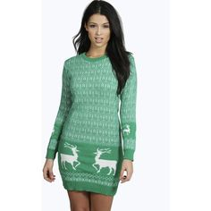 Boohoo Emma Reindeer Christmas Jumper Dress ($30) ❤ liked on Polyvore featuring tops, sweaters, bottle, turtleneck sweater, christmas sweater, green turtleneck sweater, green sweater and chunky knit sweater