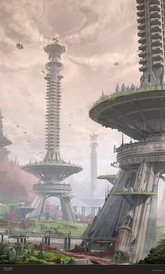 ArtStation - Chang-Wei Chen's submission on Beyond Human - Environment Design Fantasy City, Fantasy Places, Sci Fi Fantasy, Fantasy World, Human Environment, Environment Concept Art, Environment Design, Fantasy Art Landscapes, Fantasy Landscape
