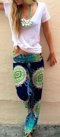 Super Comfy + Gorgeous Colors! Bohemian Style Emerald Green and Teal Blue Floral Straight Barrel Mid-rise Casual Stretch Pants