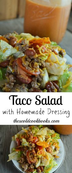 This Taco Salad with Homemade Dressing is perfect for your next pitch-in or as a fun weeknight dinner for the family. This Taco Salad with Homemade Dressing is perfect for your next pitch-in or as a fun weeknight dinner for the family. Easy Taco Salad Recipe, Keto Taco Salad, Taco Salad Recipes, Salad Recipes For Dinner, Salad Dressing Recipes, Mexican Food Recipes, Taco Salad Dressings, Dressing For Taco Salad, Beef Salad