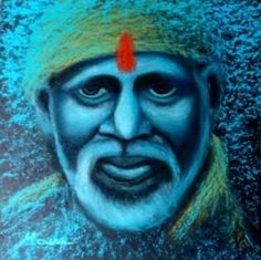 Shirdi Sai Baba Painting, Sai Baba Paing Indian Contemporary Painting, Colorful Textured Indian Traditional Painting, Handmade Paper, Wooden Frame For Sale