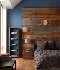 These 12 Reclaimed Wood Bedroom Decor Ideas will inspire you to add the natural warmth of wood in nearly every room of your home! Gray Bedroom, Home Decor Bedroom, Bedroom Furniture, Budget Bedroom, Master Bedrooms, Bedroom Colors, Bedroom Interiors, Decor Room, Wall Decor