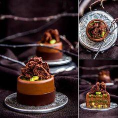 "Chef Nina Tarasova: ""Chartreuse"" - pistachio croquant, soft pistachio caramel, chocolate cream ""truffle"" with cheese"