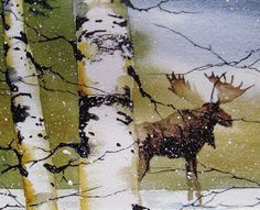 This is a print of my original watercolor painting of a bull moose strolling through a birch tree forest. Moose are a very rare sight, even deep in the