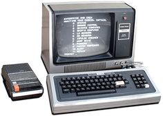 TRS-80. Sold through Radio Shack, using a cassette player for its memory and a TV for a monitor, the TRS-80 was an early hobby computer.