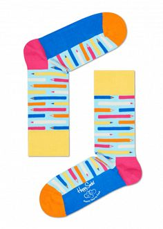 Open your heart and support education for all children with these Happy Hearts Pencil Socks. A fun crew sock in blue, yellow and pink with pencils all over. A definite eyecatching detail in your school outfit. Available in size 9-11.  Petra Nemcova's Happy Hearts Fund, founded in 2005, helps build safe-resilient schools globally when natural disasters occur.   To help HHF in their mission, four exclusive styles of Happy Socks have been developed; $3 from each sale will go toward the purchase…