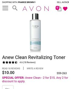 BENEFITS • Leaves skin feeling conditioned •Provides long lasting hydration •Makes skin feel thoroughly cleaned, purified and conditioned* •Easy to spread/apply • Non-sticky and non-greasy •Suitable for all skin types • Alcohol free and oil-free • Non-comedogenic • Dermatologist-tested  https://www.avon.com/product/anew-clean-revitalizing-toner-56091?rep=slayed  #avon #specialoffer #skincareregimen #skincare #beauty #cleanser #toner #beautyadvisor #youthfulskin #acne #2for15 #sale