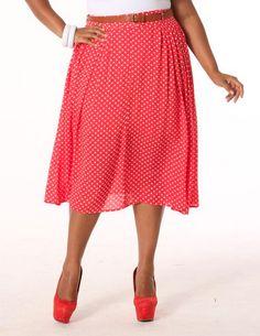 Polka Dot Knee Length Skirt | MPSelect