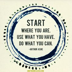 """""""Start Where You Are. Use What You Have. Do What You Can."""" – Arthur Ashe #inspiration #quote"""