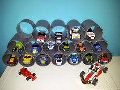 DIY...Water pipe Lego Racers Garage (organizer)...could use soup cans too!