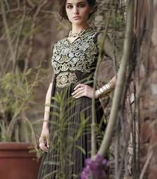Buy Grey embroidered Net semi stitched party-wear-gowns party-wear-gown online