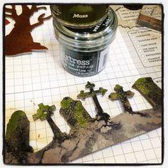 Stamptramp: Spooky Cemetery Terrarium how-to
