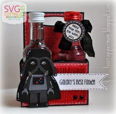 Tx Scrapper Mom - Star Wars Hop, SVG Cutting Files Mini Bottle Carrier and Lego Vader. Jaded Blossom Candy Wars. Lovebug Creations ribbon.
