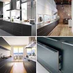 Aluminum, one of the most modern and versatile materials, is perfect in many ways for the fronts of the bulthaup b3 design system -with its consistently minimal appearance. In the collection of photos below, we see examples of dark gray aluminum. To learn more about bulthaup finishes visit http://www.en.bulthaup.com/#/40F100D34BEB2F67C1257784004C7EBD