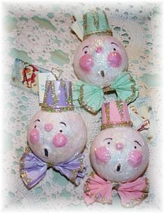 hand-made vintage style snowmen...all in pastels with lots of sparkle!