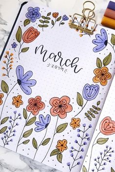 Need ideas for your next bullet journal monthly cover? These super cute March c. - Need ideas for your next bullet journal monthly cover? These super cute March covers will give you - Bullet Journal School, March Bullet Journal, Bullet Journal Cover Ideas, Bullet Journal Lettering Ideas, Bullet Journal Notebook, Bullet Journal Spread, Bullet Journal Ideas Pages, Journal Covers, Bullet Journal Inspiration