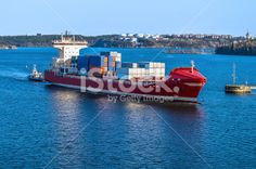 Cargo Container Ship Side View Royalty Free Stock Photo