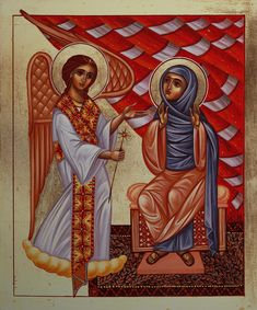 COPTIC icon__ Annunciation Icon in the Coptic style by Yordanka Karalamova
