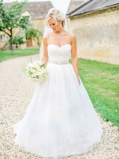 Wedding Gown - Grace by Enzoani | See the wedding on SMP: http://www.StyleMePretty.com/2014/03/04/romantic-cotswolds-wedding-at-thyme-barn/ Belle And Beau Fine Art Photography