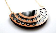 Scallop & ZigZag Crescent / Half-Moon Bib Necklace - Geometric - Pattern  - Laser-Cut Wood and Black Acrylic - Engraved