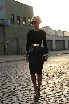Black with gold belt