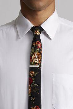 Floral Tie w/ Silver Tie Bar - Skinny Tie Madness - Ties : JackThreads