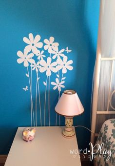Wordplay Designs helps you create custom vinyl decals, graphics and prints to personalize your home, office or vehicle. Great craft and gift ideas too! Butterfly Wall Decals, Rough Wood, Wall Flowers, Daisy Flowers, Custom Vinyl, Textured Wallpaper, Blue Walls, Vinyl Wall Decals, Girls